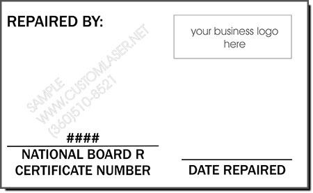 ASME Certified Repair Stamp Plates
